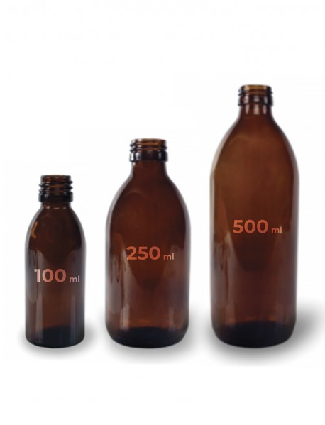 Amber glass bottles